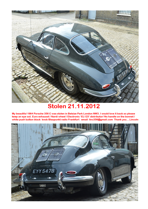 Wanted! 1964 Porsche 356 C stolen in London   www automotiveclub eu